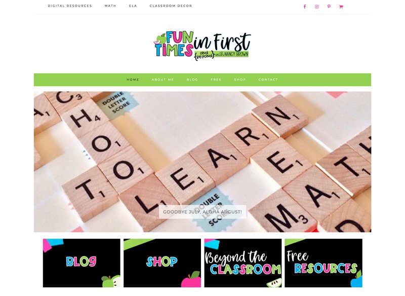 Custom WordPress website design, logo, and branding for teacher entrepreneurs and education bloggers via Design by Christi Fultz.