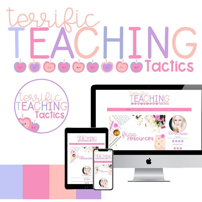 Custom WordPress website design, logo, and branding for teacher entrepreneurs and education bloggers via Design by Christi Fultz