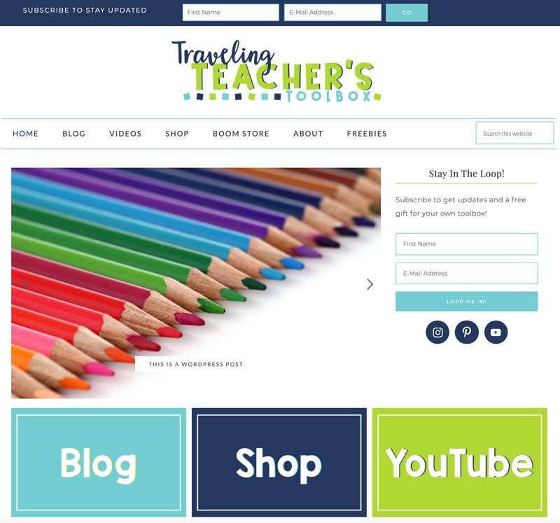 wordpress teacher blog, website, and logo design by christi fultz